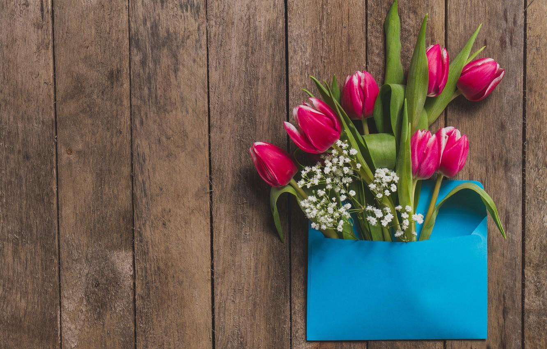Фото обои цветы, тюльпаны, розовые, fresh, wood, pink, flowers, tulips, spring