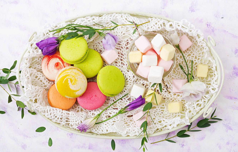Фото обои цветы, colorful, десерт, pink, flowers, пирожные, сладкое, sweet, dessert, macaroon, french, macaron, макаруны, marshmallow, зефирки