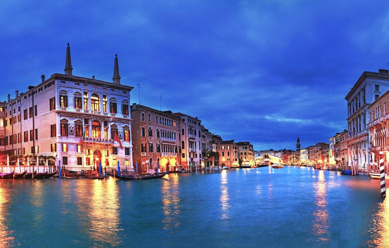 Фото обои закат, city, город, огни, вечер, Италия, Венеция, канал, Italy, panorama, Europe, view, Venice, cityscape, travel, …