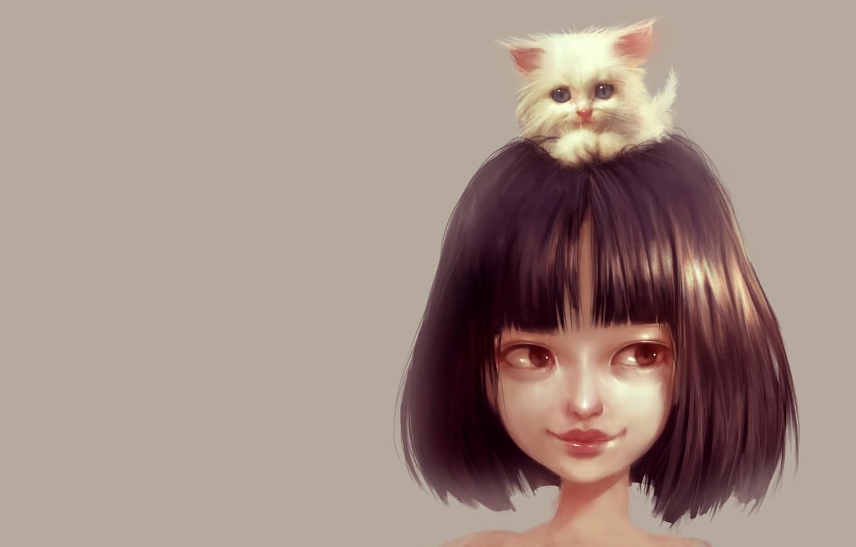 Фото обои малыш, дружба, девочка, котёнок, пушистик, любимчик, Ilse Harting, Cat Lover