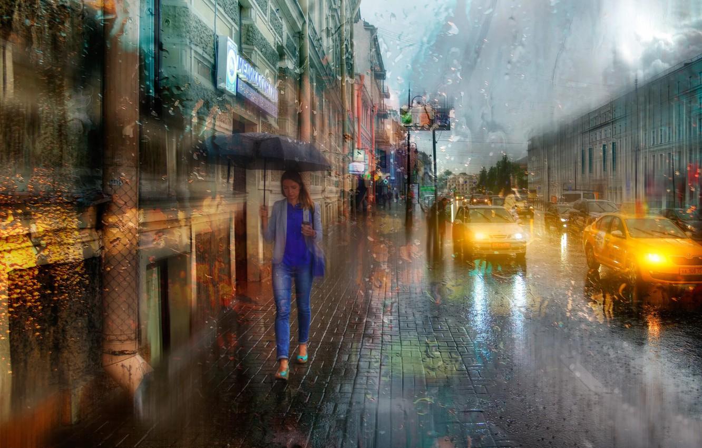 Обои зонт, капли, россия, дождь. Города foto 16