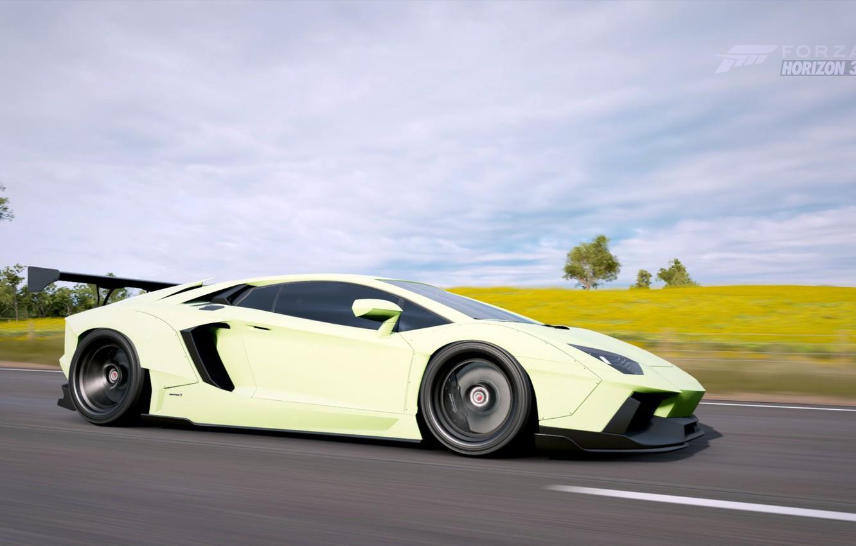 Фото обои суперкар, Lamborghini Aventador, Forza Horizon 3, Lyberty walk tuning
