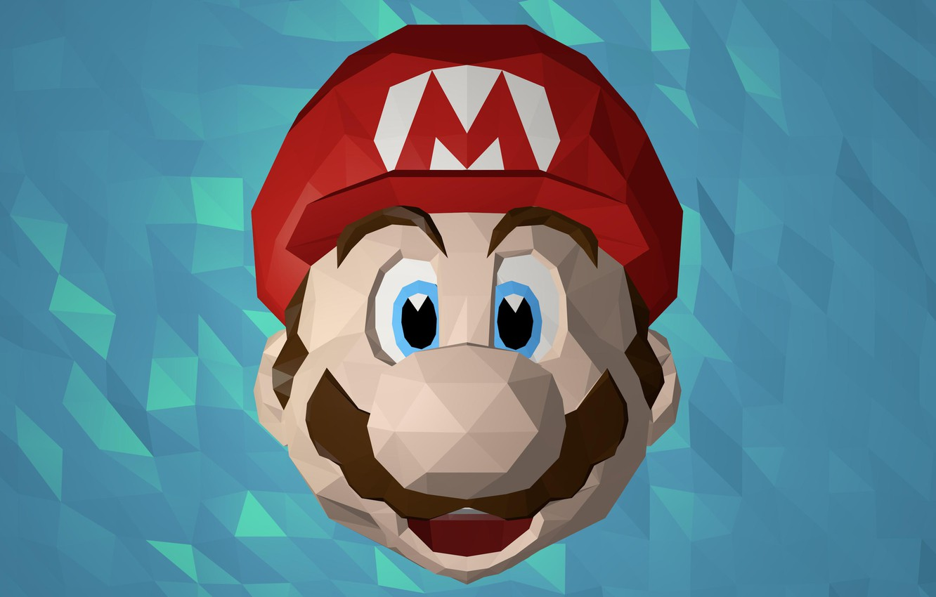 Фото обои лицо, Марио, Mario, low poly, mario bros