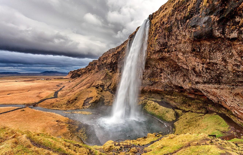 Фото обои природа, скала, водопад