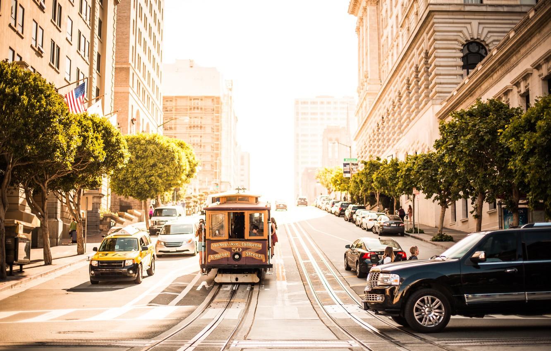 Обои трамвай, люди, улица, дома. Города foto 15