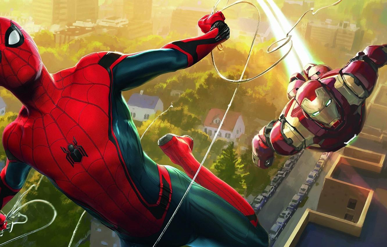 Фото обои cinema, spider, armor, Iron Man, boy, Marvel, movie, Spider-man, hero, film, mask, suit, Tony Stark, …