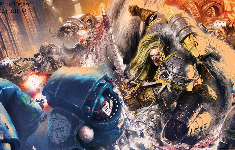 Фото обои sword, Horus Heresy, Space Wolves, space marine, battle, book, Warhammer 40 000, Leman Russ, traitors, …