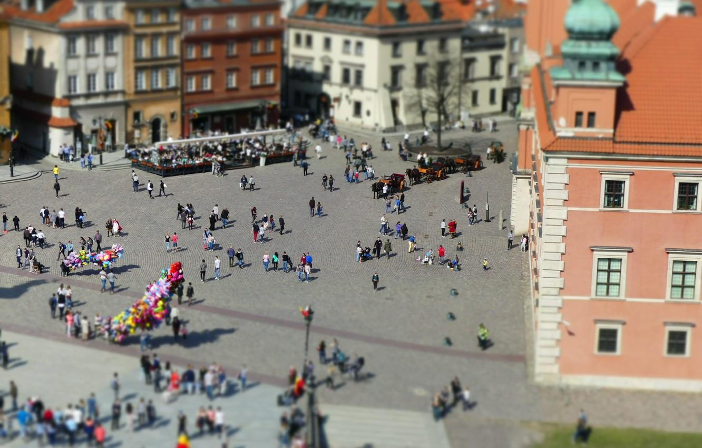 Фото обои Площадь, Панорама, Люди, Польша, Варшава, Здания, Poland, Panorama, Warszawa, Warsaw