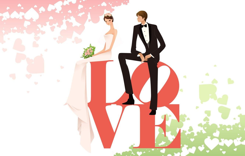 Фото обои любовь, вектор, весна, арт, пара, двое, свадьба, слово