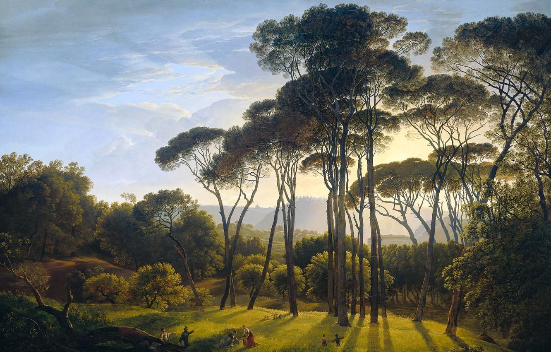 Обои холст, картина, масло, Хендрик Воогд, Итальянский Пейзаж с Соснами. Разное foto 6