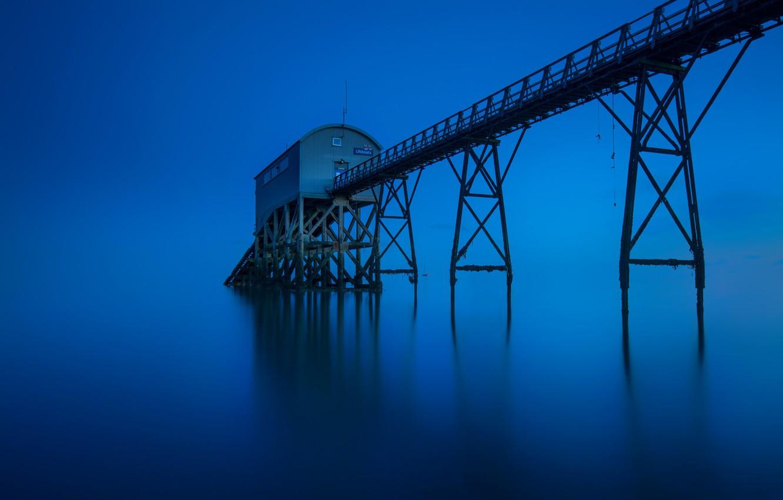 Фото обои море, Великобритания, спасательная станция, Selsey