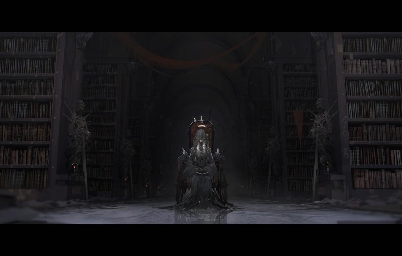 Фото обои девушка, оружие, книги, меч, свечи, аниме, арт, воины, вуаль, трон, нимб, скелеты, novelance