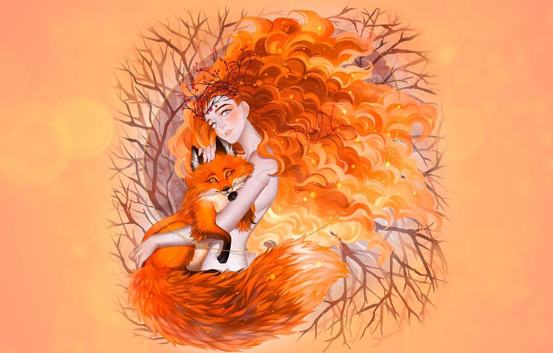 Фото обои осень, девушка, лиса, рыжая осень, luleiya, Fox Spirit