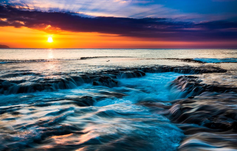 Фото обои море, небо, солнце, тропики, рассвет, побережье, горизонт, Гавайи, США