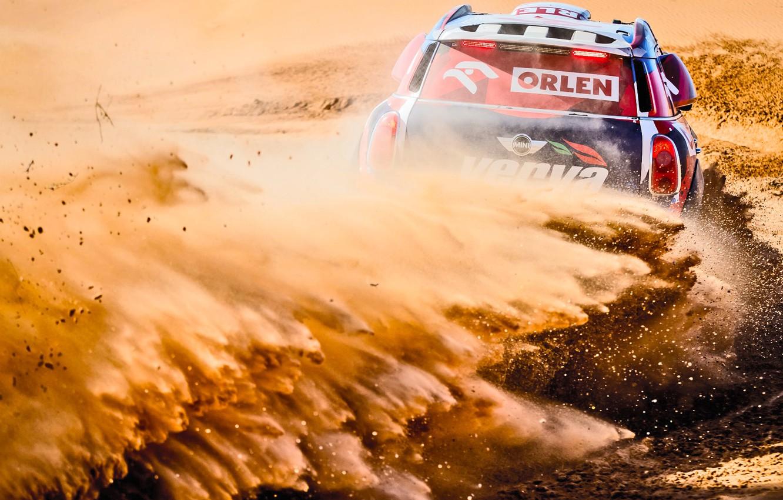 Фото обои Песок, Mini, Пыль, Спорт, Пустыня, Скорость, Поворот, Гонка, Занос, Жара, Rally, Ралли, Дюна, Raid, MINI …