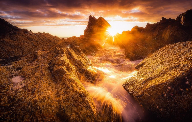 Фото обои скалы, рассвет, побережье, Шотландия, Scotland, Morayshire
