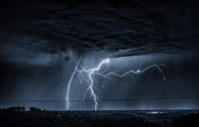 Фото обои небо, тучи, стихия, молния
