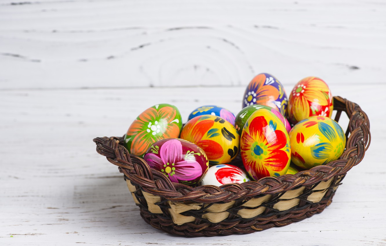 Фото обои корзина, весна, colorful, Пасха, wood, spring, Easter, eggs, decoration, Happy, busket, яйца крашеные