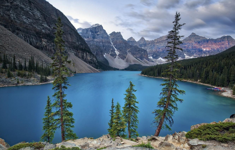 Фото обои деревья, горы, озеро, Природа, Канада, Альберта, Национальный парк Банф, озеро Морейн