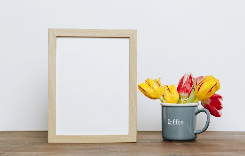 Фото обои цветы, фото, букет, рамка, colorful, кружка, тюльпаны, flowers, romantic, tulips, spring, coffee, mug