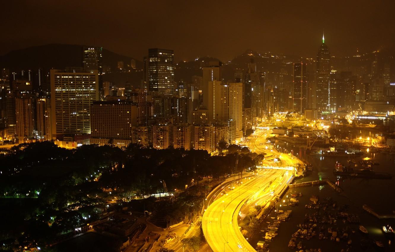 Фото обои China, Дорога, Гонконг, Огни, Ночь, Панорама, Здания, Китай, City, Night, Hong Kong, Road, Panorama