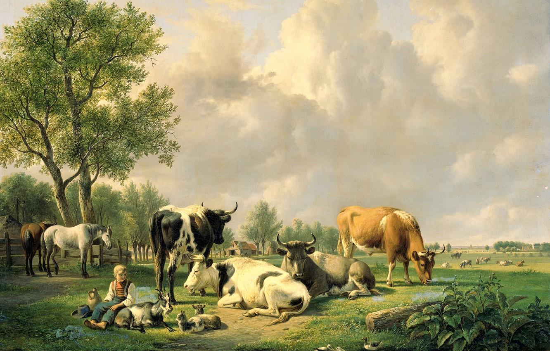 Фото обои животные, масло, картина, холст, Jan van Ravenswaay, Луг с Крупным Рогатым Скотом