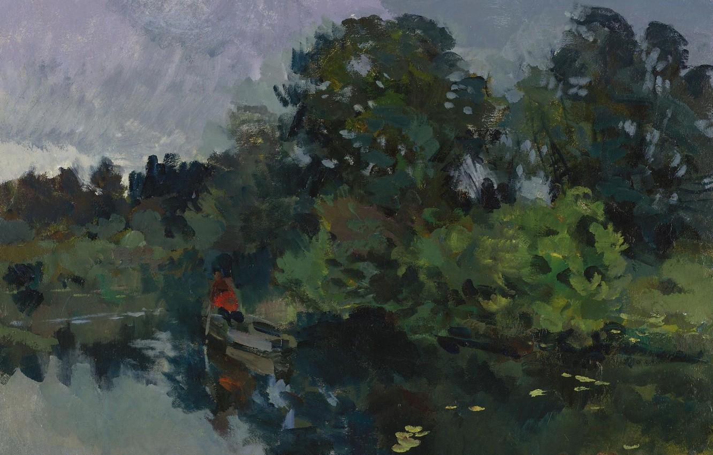 Фото обои деревья, пейзаж, лодка, картина, Константин Коровин, На озере с лилиями
