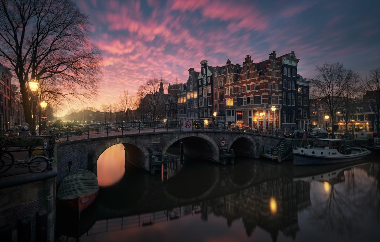 Фото обои свет, город, огни, вечер, утро, Амстердам, канал