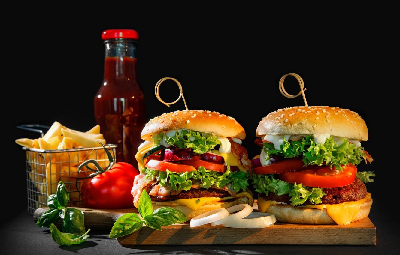 Фото обои зелень, сыр, лук, овощи, помидоры, соус, гамбургер, котлета, булочки