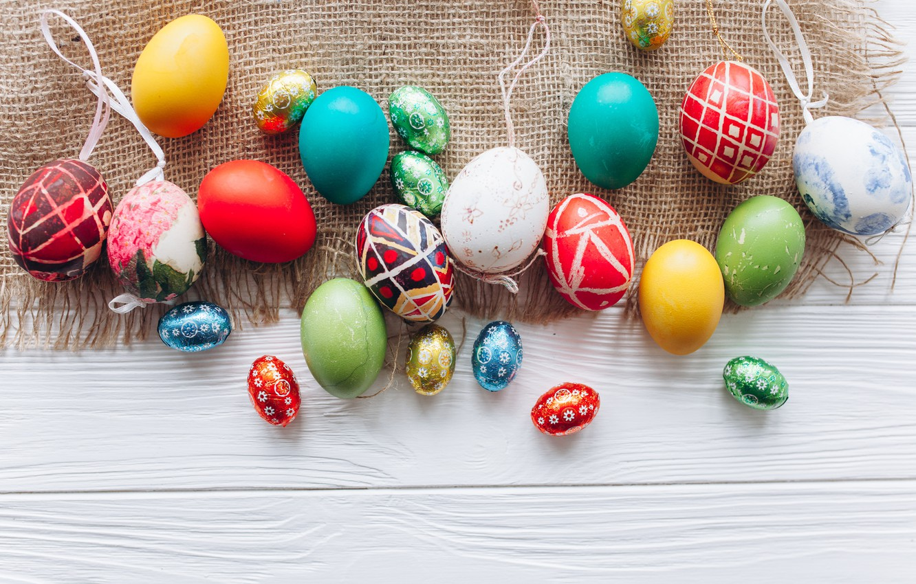 Фото обои яйца, весна, colorful, Пасха, wood, spring, Easter, eggs, decoration, Happy