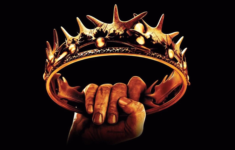 Фото обои золото, обои, рисунок, рука, шипы, черный фон, Игра Престолов, Корона, борьба за власть