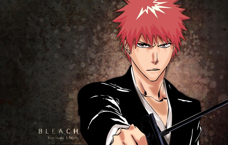 Фото обои взгляд, аниме, парень, Bleach, Блич, Ичиго Куросаки