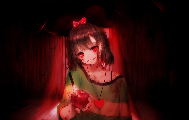 Фото обои кровь, пятна, нож, game, красные глаза, безумие, подвал, адская ухмылка, Undertale, Chara