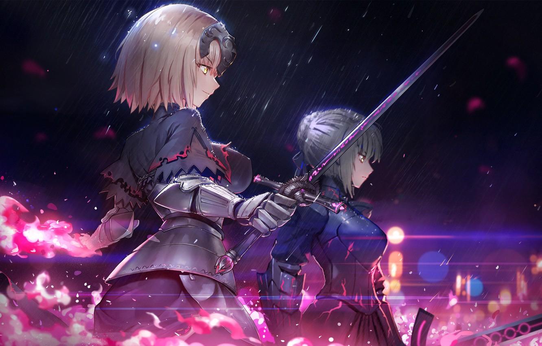 Фото обои оружие, девушки, меч, аниме, арт, Fate/Grand Order, Судьба/великая Кампания