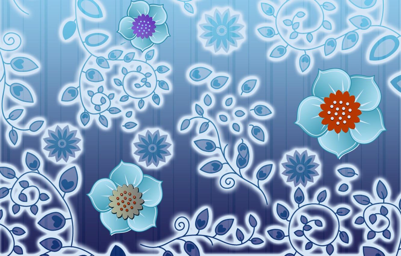 Фото обои листья, цветы, ветки, фон, графика, текстура