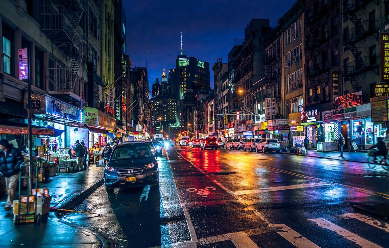 Обои ночь, движение, manhatten, чайнатаун, улица, здание, манхеттен. Города foto 6