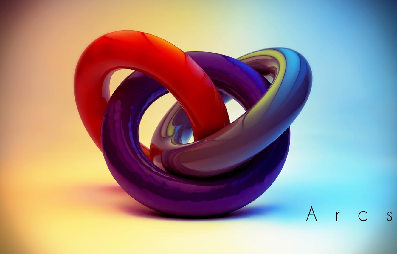 Фото обои colors, colorful, abstract, rendering, digital art, geometry, Arcs