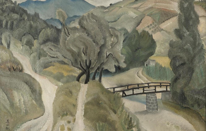 Фото обои деревья, мост, река, холмы, Пейзаж, 1918, тропы, Цугухару, Фудзита