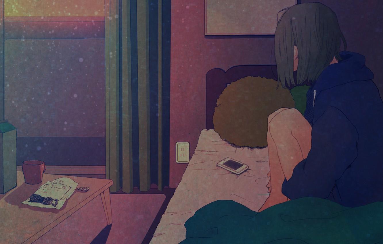 Фото обои грусть, девушка, одиночество, стол, комната, окно, кружка, постель, занавески, телефон, ожидание, art, Asakurazeze