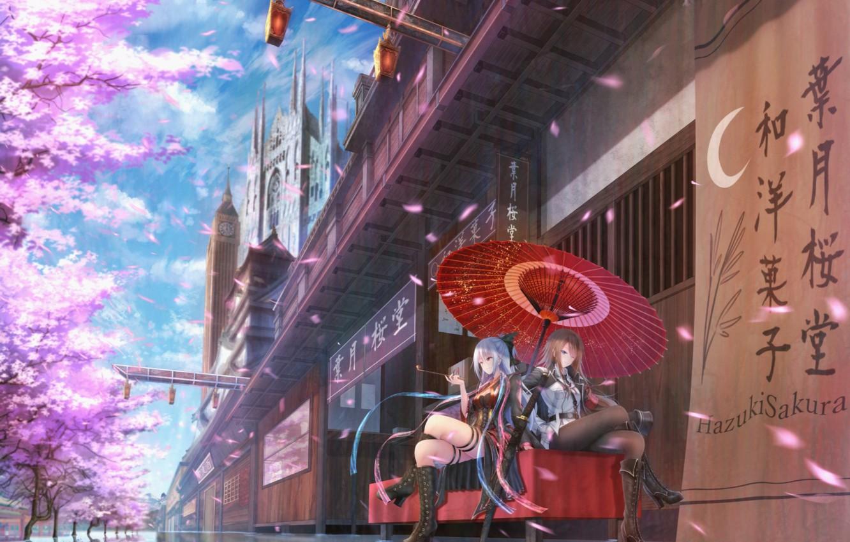 Фото обои город, девушки, дома, трубка, катана, зонт, аниме, лепестки, сакура, арт
