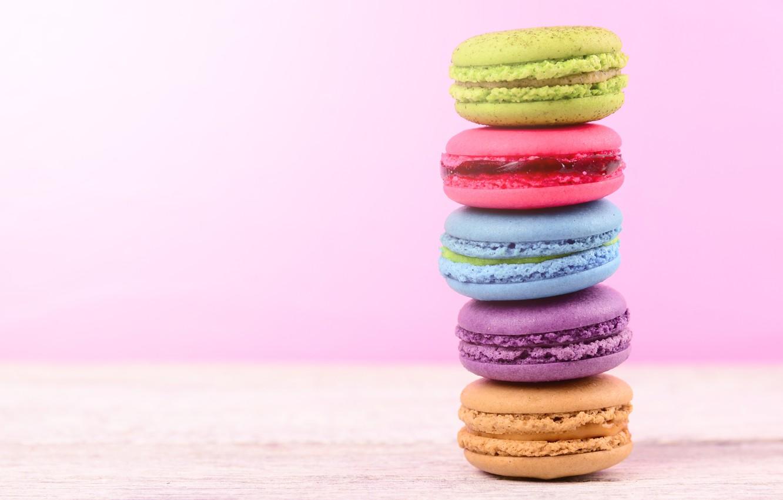 Фото обои colorful, десерт, pink, пирожные, сладкое, sweet, dessert, macaroon, french, macaron, макаруны