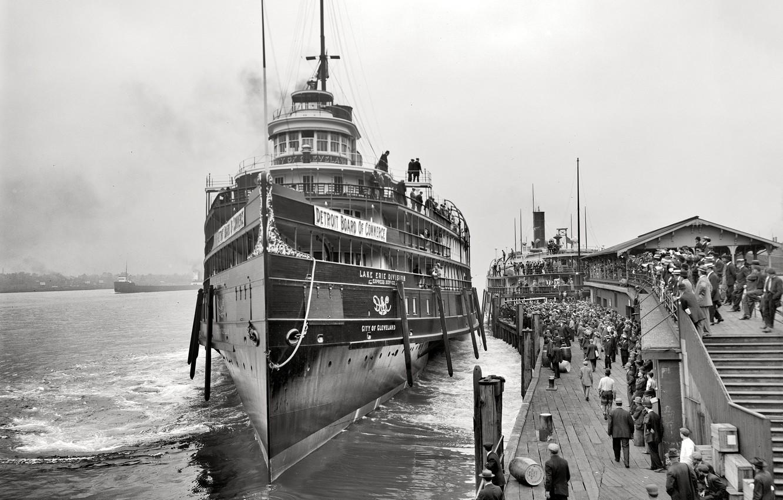 Фото обои ретро, корабль, причал, пароход, США