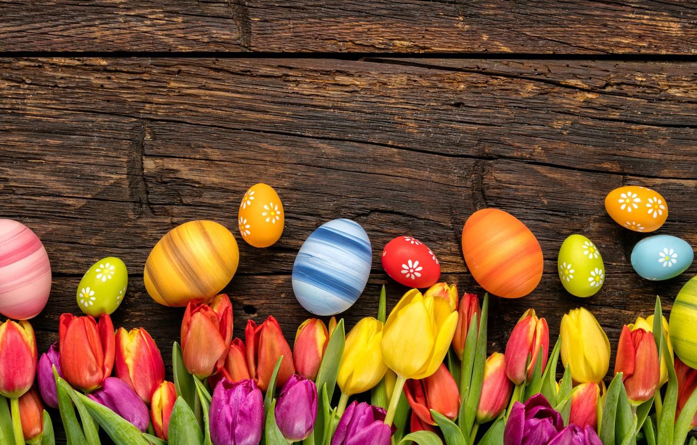 Фото обои colorful, Пасха, тюльпаны, happy, wood, flowers, tulips, spring, Easter, eggs, holiday, яйца крашеные