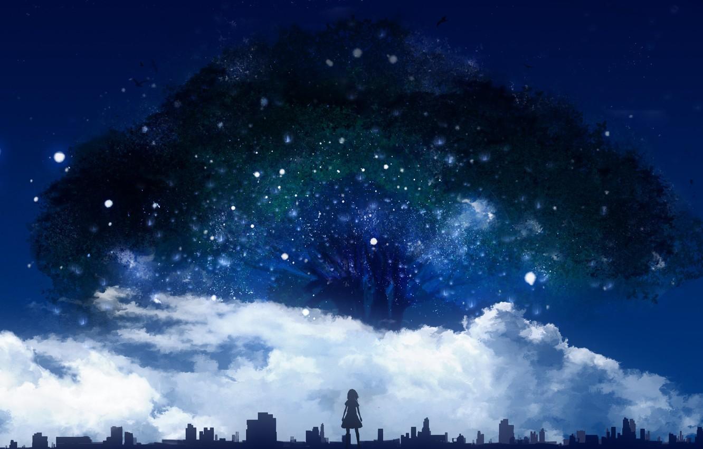 Аниме ночное небо картинки