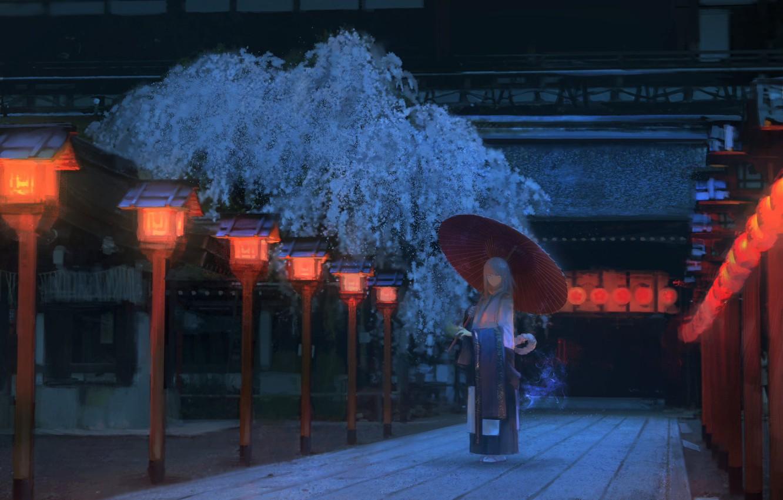 Фото обои девушка, ночь, Япония, сакура, дорожка, японская одежда, красные фонари, деревянный дом, под зонтом
