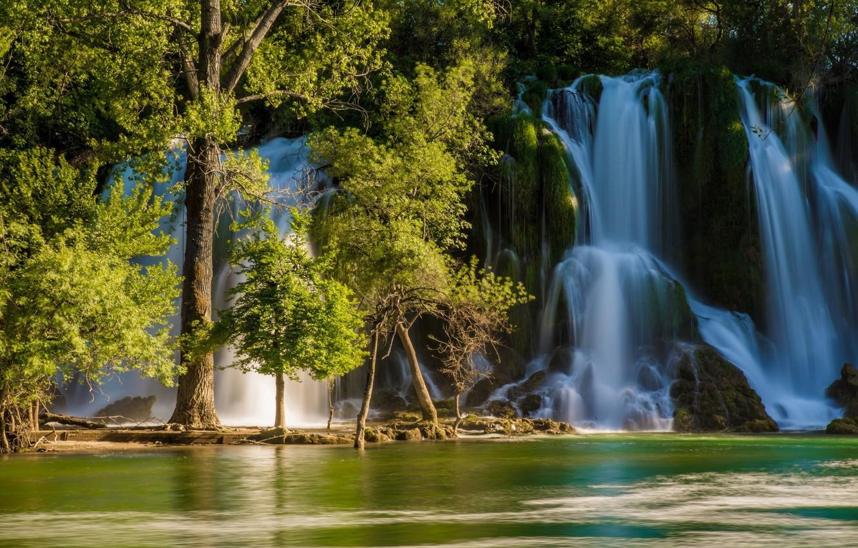 Фото обои деревья, река, водопад, Босния и Герцеговина, Bosnia and Herzegovina, Kravice Falls, Trebizat river