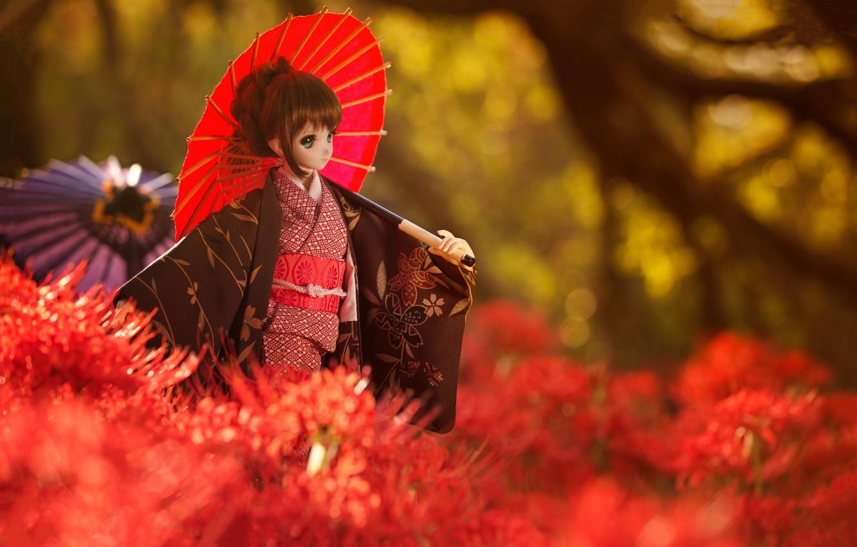 Обои японка, зонтик, Кукла. Разное foto 12