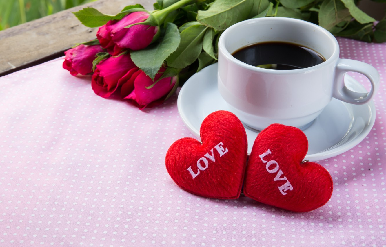 Фото обои цветы, праздник, кофе, розы, сердечки, день влюбленных