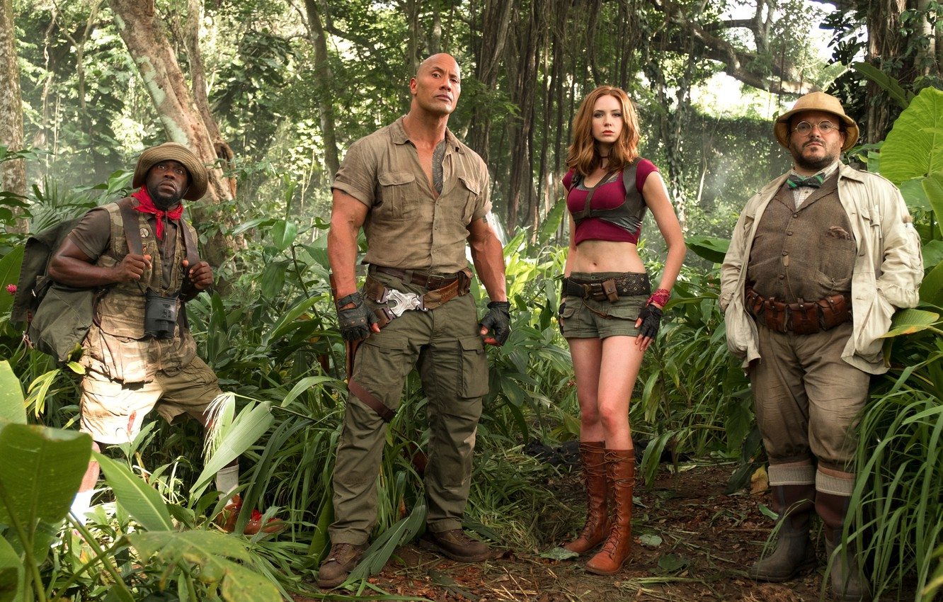 Фото обои cinema, girl, hat, jungle, tree, movie, tatoo, film, Jack Black, Karen Gillan, Kevin Hart, Jumanji, …