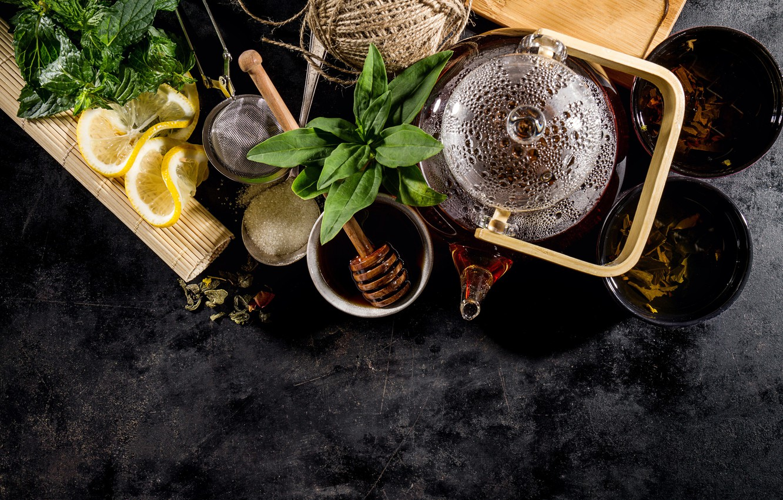 Обои мята, чай, чайник, доски. Еда foto 8